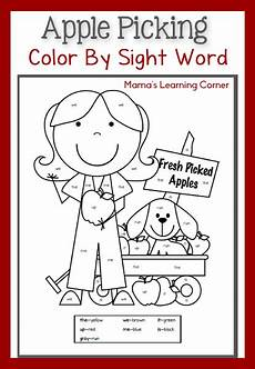 colors printable word 12830 free color sight word apple themed pages free homeschool deals