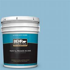 behr premium plus 5 gal m500 3 blue chalk color satin enamel exterior paint and primer in one