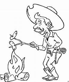 cowboy am lagerfeuer ausmalbild malvorlage comics