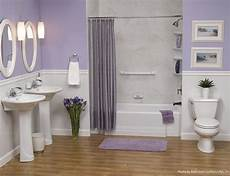 light purple linens pair well with a white alcove bathtub