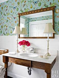 large bathroom decorating ideas bathroom wallpaper ideas better homes gardens