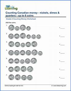 grade 2 counting money worksheet canadian nickels dimes quarters k5 learning
