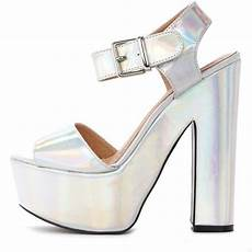 holographic platform sandal 17 liked polyvore featuring shoes sandals heels