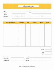 clothing invoice template