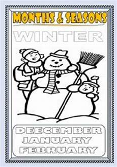months and seasons winter coloring page part 2 esl