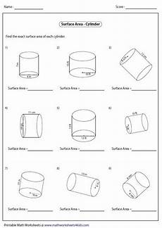 surface area of cylinders area worksheets geometry worksheets volume worksheets