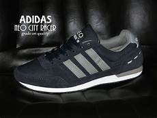 jual sepatu adidas neo city racer grade ori biru navy silver sport casual pria cowok