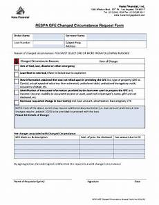 fillable online respa gfe changed circumstance request form fax email print pdffiller