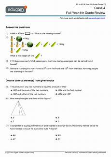 class 4 math worksheets and problems full year 4th grade review edugain india