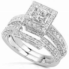 1 cheap 1 1 4ctw princess diamond wedding rings in 14kt white gold for sale promotion