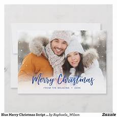 blue merry christmas script overlay holiday photo holiday photos merry christmas card photo