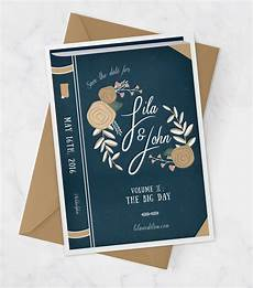vintage book cover wedding invitation for library by