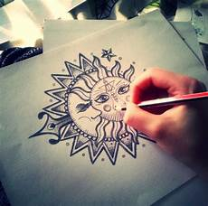 mandala sun and moon tatouage inspi mandala
