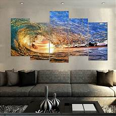 canvas printings sunset light reflecting in the wave painting wall art home decoration 5 pcs