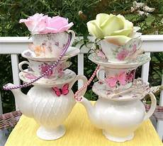 Tea Centerpieces pair of two stacked teapot teacup centerpieces pearls etsy