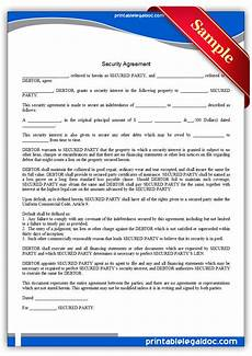 free printable security agreement form generic