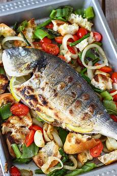grilled whole fish with italian bread salad happy foods