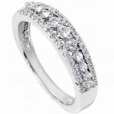 1 4ct diamond anniversary wedding ring 10k white gold womens pave wedding band ebay