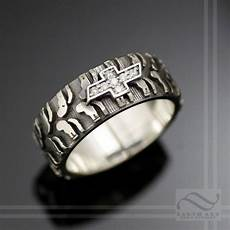 mens mud bogger tire tread wedding ring wide design sterling silver rings for men wedding