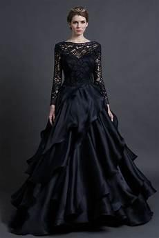 elegant black lace wedding dress see through long sleeve