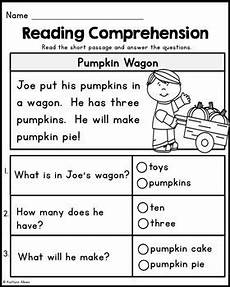 kindergarten reading comprehension passages fall edition by kaitlynn albani