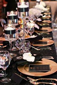 black and gold party inspiration wedding reception black gold party wedding decorations
