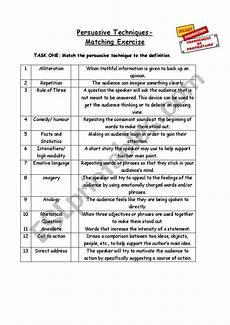 persuasive strategies matchup esl worksheet by idall3