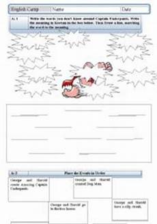 english worksheets captain underpants reading sheet for