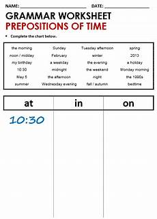 preposition of time worksheets for grade 3 3491 time at in on all things grammar