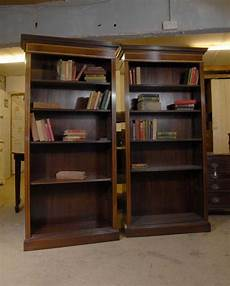 pair edwardian sheraton open bookcases bookcase