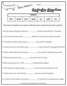 worksheet gary gator s coordinating conjunctions fanboys complete each sentence with the