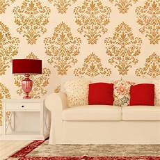 Home Decor Ideas Wallpaper by Damask Wall Stencil Pattern Ludovica For Diy Home Decor