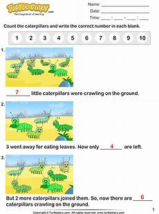 learning worksheets 19321 count the number of caterpillars worksheet turtle diary