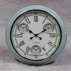 retro light blue with white face london multi dial wall clock art rebellion