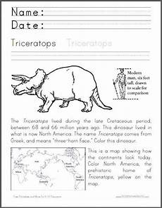 dinosaurs worksheets for 6th graders 15402 triceratops coloring worksheet cross curricular dinosaur worksheet for primary grades