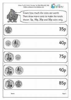 money worksheets change from 50p 2103 how much more money 5p 10p 20p 50p money maths worksheets for year 2 age 6 7