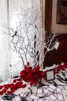 red silver white wedding centerpiece wedding ideas