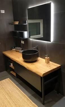 mobile lavello bagno mobile bagno industrial black con pianale in legno