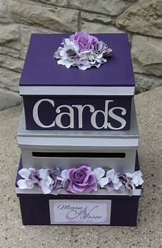 wedding card box 3 tier card holder square purple and