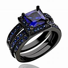 black stainless steel women s wedding band ring set halo blue princess cut cz ebay