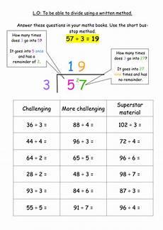 ks2 division written method bus stop method teaching