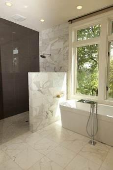 walk in bathroom ideas half wall for shower no glass bathroom ideas in 2019