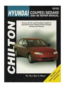 car repair manuals download 1994 hyundai scoupe parking system 1994 1998 hyundai accent elantra excel scoupe sonata tiburon chilton manual