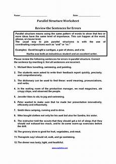 review sentences for errors parallel structure worksheets parallelism grammar sentences