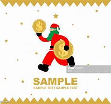 merry christmas and new year greeting card santa claus running with dollar sign currency coin