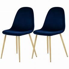 chaise fredrik en velours bleu fonc 233 lot de 2 achetez