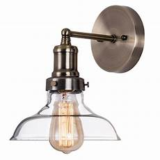 industrial clear glass wall sconce lighting brass fixture wall l light for bathroom