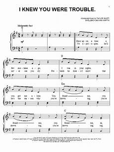 i knew you were trouble sheet music direct