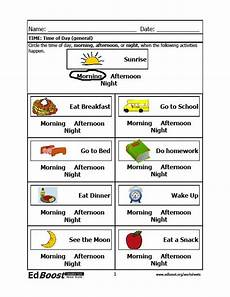 time of day worksheets for kindergarten 3596 time time of day general edboost