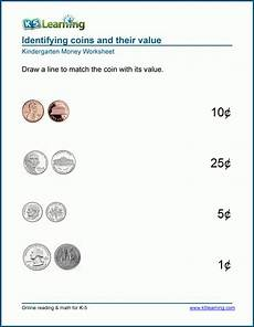 value of coins worksheets for preschool and kindergarten k5 learning